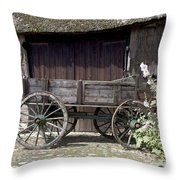 Farmers Trolley Stands For A Farm In Gees The Netherlands Throw Pillow