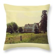 Farmhouse And Landscape Throw Pillow