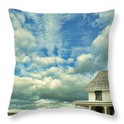 Farmhouse By Cornfield Throw Pillow