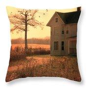 Farmhouse By Tree Throw Pillow