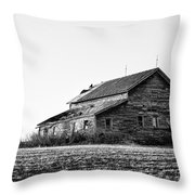 farmhouse in spring - Old Barns Throw Pillow