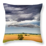 Farmhouse In The Storm Panorama Throw Pillow