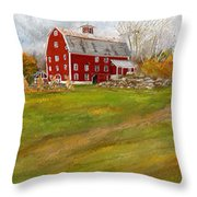 Red Barn Art- Farmhouse Inn At Robinson Farm Throw Pillow