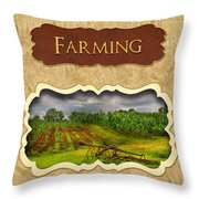 Farming And Country Life Button Throw Pillow
