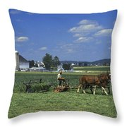 Farming The Old Order Way Throw Pillow