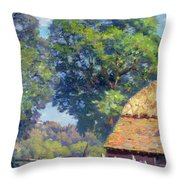 Farmyard With Poultry Throw Pillow