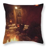 Farolitos And Luminaria Near Door Throw Pillow