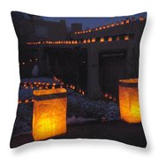 Farolitos Or Luminaria On Wall Throw Pillow