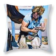 Farrier At Work Throw Pillow