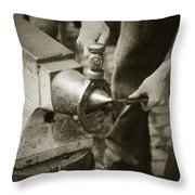 Farrier Making Horseshoe Throw Pillow