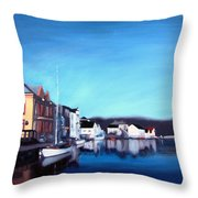 Farsund Dock Scene I Throw Pillow by Janet King