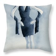 Fashion Illustration Art Print Woman In Blue Dress Front Throw Pillow by Beverly Brown