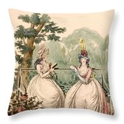 Fashion Plate Of Ladies In Summer Day Throw Pillow