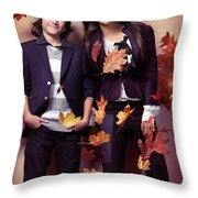 Fashionably Dressed Boy And Teenage Girl Fall Fashion Throw Pillow