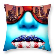Fashionista Los Angeles Silver Throw Pillow