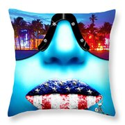 Fashionista Miami Blue Throw Pillow