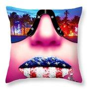 Fashionista Miami Pink Throw Pillow