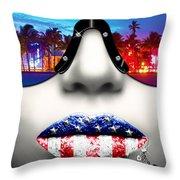 Fashionista Miami Silver Throw Pillow