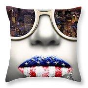 Fashionista New York Silver Throw Pillow