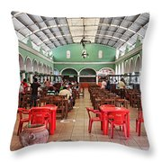 Fast Food Hall In Valladolid Throw Pillow