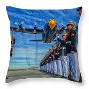 Fat Albert Over The Usmc Silent Drill Team Throw Pillow