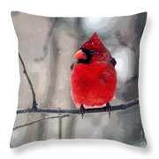 Fat Cardinal In The Snow Throw Pillow