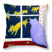 Fat Inside Cat - Why Fluffie Can Not Possibly Go Out Throw Pillow