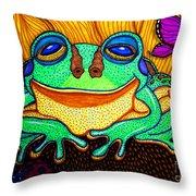 Fat Green Frog On A Sunflower Throw Pillow by Nick Gustafson