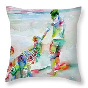 Father And Children Throw Pillow