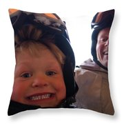 Father And Son At Big Mountain Throw Pillow