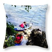Father And Son Launching Kayaks Throw Pillow