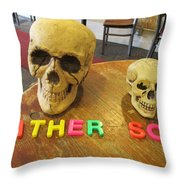 Father And Son - Toy Skulls At The Cafe Throw Pillow