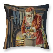 Father Christmas Filling Children's Stockings Throw Pillow