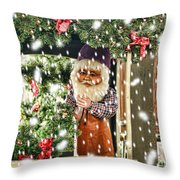 Father Christmas In The Snow Throw Pillow