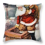 Father Christmas Popping Down The Chimney To Deliver Gifts To The Good.  Throw Pillow