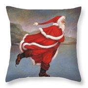 Father Christmas Skating On Duddingston Loch Throw Pillow