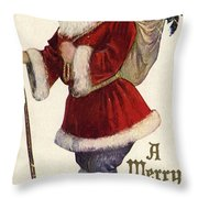Father Christmas With A Bag Of Toys Throw Pillow