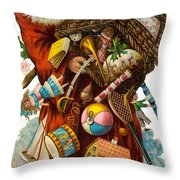 Father Christmas With Presents Throw Pillow