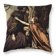 Father Father Tell Me What Ails Thee With Dismay Thou Art Filling Thy Child Throw Pillow by Arthur Rackham