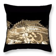 Father Time Looks Back Throw Pillow