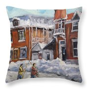 Faubourg A Melasse Montreal - Joys Of Winter By Prankearts Throw Pillow