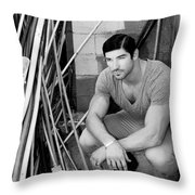 Faubourg Alley Man Bw Throw Pillow