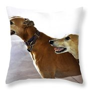 Fawn Greyhound Dogs Profile Throw Pillow