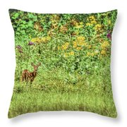 Fawn In Flowers Throw Pillow