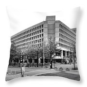 Fbi Building Front View Throw Pillow by Olivier Le Queinec