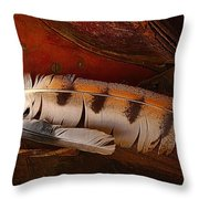 Feather And Leather Throw Pillow