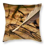 Feather And Sand Throw Pillow by Raimond Klavins