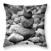 Feather And Stones Throw Pillow