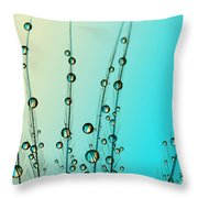 Feather Drops With Blue Throw Pillow