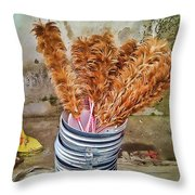 Feather Duster Bouquet Throw Pillow